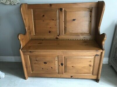 Beautiful Solid Pine Vintage Monks Bench Hallway Seat Settle Storage Church Pew