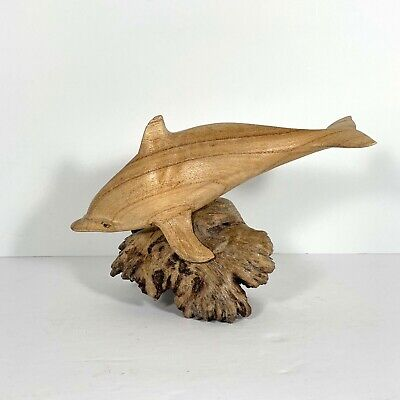 Vintage Carved Wood Dolphin Burl Wood Stand Collectible Figure Statue Art