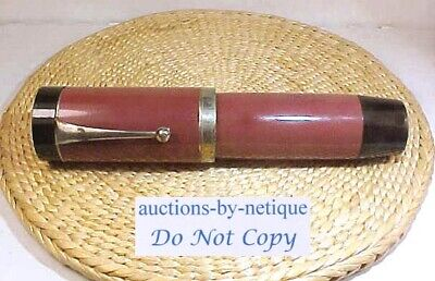 Large Uncommon 2 Color Jumbo Size Vintage Fountain Pen 14kt Plated Nib Pre WW2