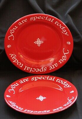 THE ORIGINAL RED PLATE COMPANY 2 Waechtersbach You Are Special Today plates VG+.