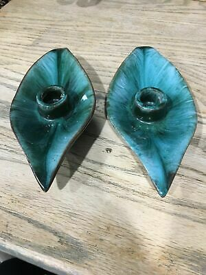Blue Mountain Pottery BMP Canada Pair Of Candlesticks, Candle Holder, Leaves