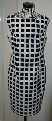 Bnwt Rrp £49.50 M&S Marks And Spencer Navy & White Checked Shift Pencil Dress 12