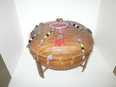 Antique Chinese Sewing Basket Domed Footed