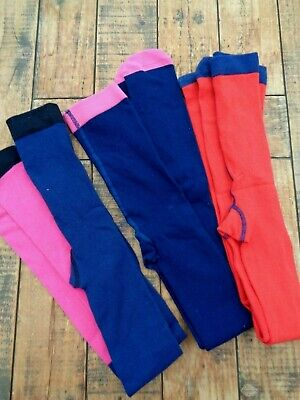 Marks & Spencer M&S Kids 3 Pairs Soft Cotton Tights age 9-10 Red Navy Pink