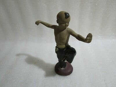 Vintage Chinese Japanese Shiwan Mud Boy Glazed Art  Pottery Bonsai Clay Figurine