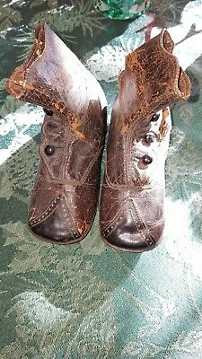 Victorian Black Leather Childs Button Up Boots Size 4 1/2