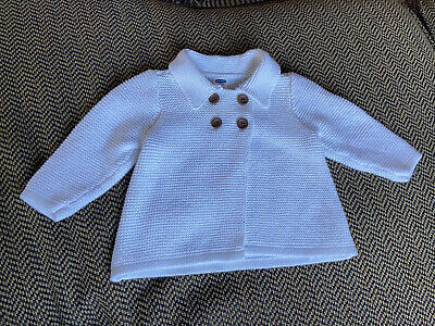 Old Navy Baby Girl Cardigan 3-6 Months White Double Breasted