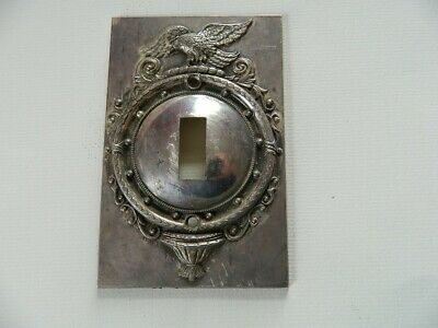 Vintage Metal Eagle Single Light switch cover with Convex Center.
