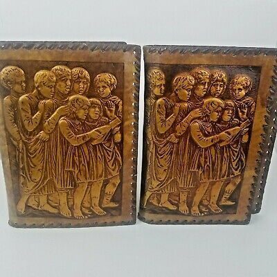 2 Vintage Hand Tooled Leather Book Covers w/ Embossed Choir Children Singing
