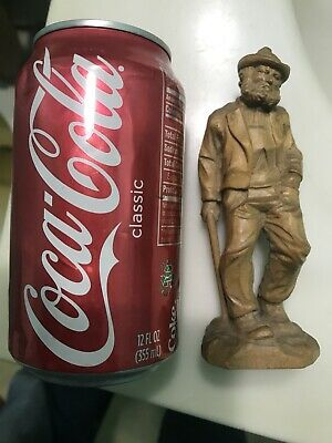 VINTAGE BLACK FOREST WOOD CARVING OF Detailed Swiss MOUNTAIN MAN With Cane