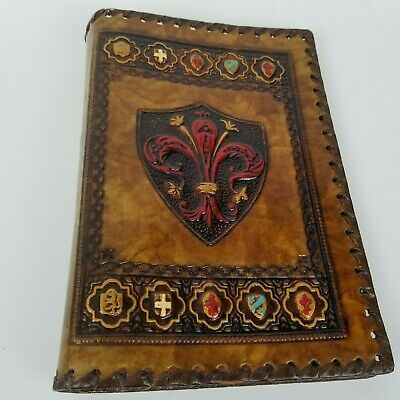 Vintage Hand Tooled Leather Book Cover with Embossed Fleur De Lis Made In Italy
