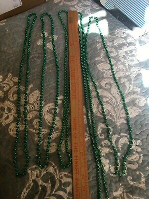 5 Assorted Green Color Mardi Gras Throw Bead Necklaces