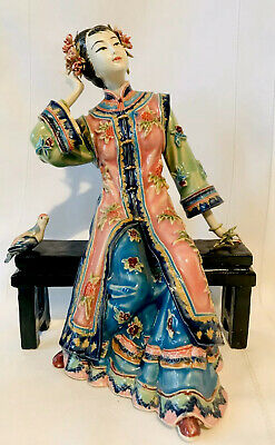 Vintage Chinese Signed Stamped Shiwan Porcelain Geisha Figurine Woman DAMAGED