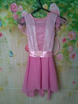Girls age 6/7  years old very pretty pink fairy dress with wings