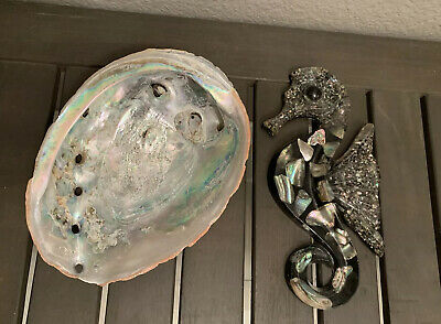 Abalone Shell and Lucite Abalone Sea Wall Hanger