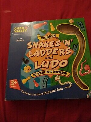 Chad Valley Wooden double sided Snakes N Ladders And Ludo Children's Board Game