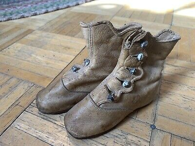 Mid 19th Century High Top Button Up Childs Shoes/Boots Early Form Rare Tan Color