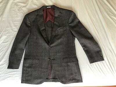 Luciano Barbera Suit Jacket And Pants 100% Wool Grey With Purple Lining Size 52
