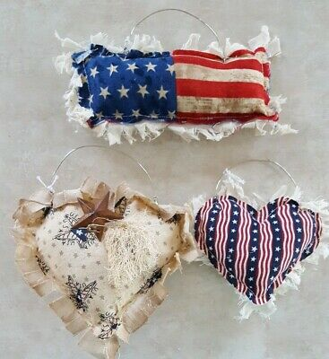 Primitive Flags & Hearts Americana Bowl Filler/ornies/accents/hangers 3 pc set