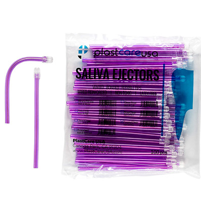 2000 (20 Bags) Purple Dental Saliva Ejectors Ejector Disposable Suction Tips