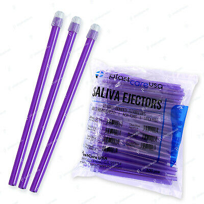 1000 (10 Bags) Purple Dental Saliva Ejectors Ejector Disposable Suction Tips