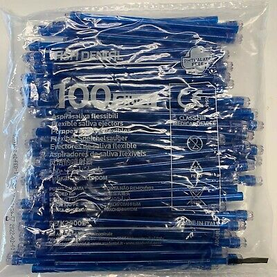 2000 Blue Clear Dental Saliva Ejectors, Disposable (20 Bags/100) (Made in Italy)
