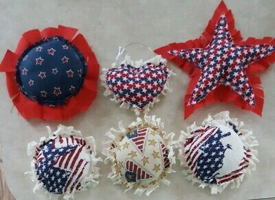 Primitive Star Hearts Flowers Bowl Filler/ornies/hangers Americana 6 pc set
