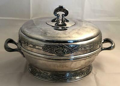 High Quality Antique Wilcox Silverplate Covered Serving Bowl w/ LANDSCAPE Design