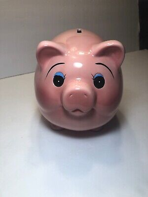 Vintage Mid Century Large Pottery Fat Belly Pink Ceramic Pig Piggy Bank 9Lx6Wx7T