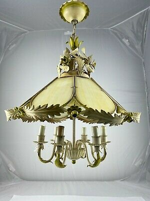 """VTG Tole Flower Chandelier Ceiling Metal Glass Floral 18"""" Round Shabby Chic Swag"""