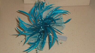 Blue fascinator with feathers, beads and net loops (beak clip and brooch pin)