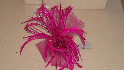 Pink fascinator with feathers, beads and net loops (beak clip and brooch pin)