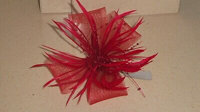Red fascinator with feathers, beads and net loops (beak clip and brooch pin)
