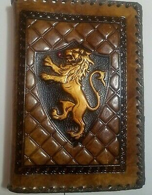 Vintage Hand Tooled Leather Book Cover Embossed Lion Heraldy Texture Made Italy