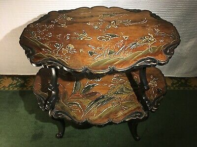 Mid 20th Century Oak Marquetry Engraved Coffee Table
