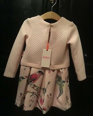 Ted Baker Baby Girl Long Sleeved Winter Dress 18-24 Months Pink Birds Quilted 🌷