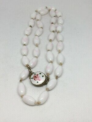 """Chinese Enamel Clasp Hand Knotted Oval White Porcelain Beads Necklace 30"""" 69 gr."""
