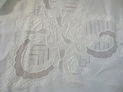 """Beautiful Embroidery Madeira Hand Work Tablecloth 87""""x 70"""" Linen 6 Napkins"""