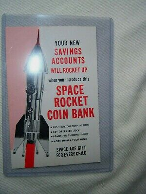 50'S-60'S Space Rocket Coin Bank Post Card St. Clair, Michigan
