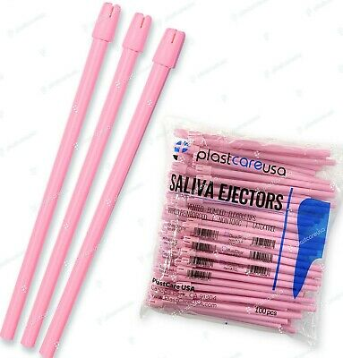 1000 (10 Bags) Pink Dental Saliva Ejectors Ejector Suction