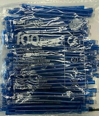 1000 (10 Bags) Saliva Ejectors Blue Clear Dental Disposable Made in Italy