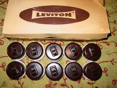 Vintage Leviton Round Toggle Light Switch Single Pole Bakelite Porcelain USA NOS