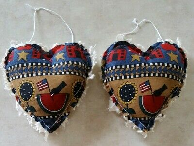 Primitive Heart Americana Bowl Filler/ornies/accents 2 pc set