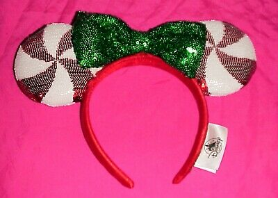 Disney Parks Christmas Candy Cane Cutie Sequin Minnie Mouse Ears Headband Hat