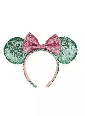 Disney Parks Minnie Mouse Ears Bow Sugar Rush Teal Pink Sequin Headband Hat NEW