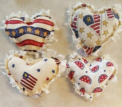 Primitive Hearts Americana Bowl Filler/ornies/accents 4 pc set