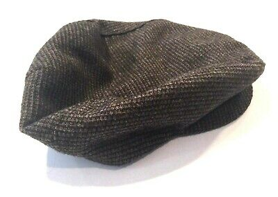 Vintage STETSON Boy's NEWSBOY Hat Brown WOOL Silk Lined SCULLY CAP S Small