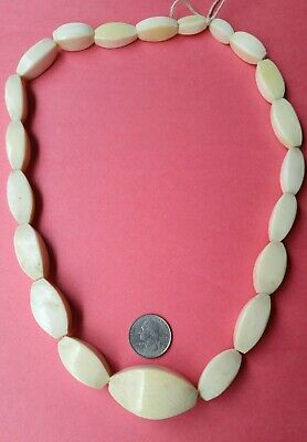 "Large Heavy Antique Chinese Bone Bead Necklace 26.5"" Long Faceted"