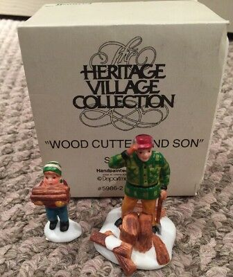 Department Dept 56 Handpainted Porcelain Wood Cutter And Son