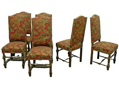Chairs,  French Louis XIII Style Upholstered, Six, Early 1900s, Gorgeous Antique